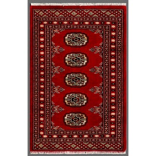 Herat Oriental Pakistani Hand-knotted Bokhara Red/ Ivory Wool Accent Rug (1'11 x 2'11)