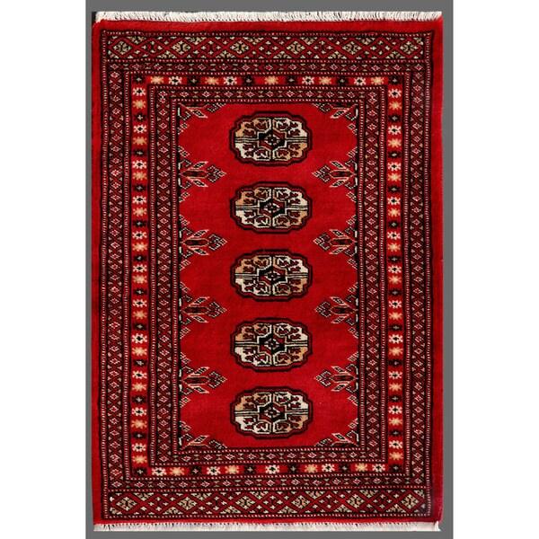 Pakistani Hand-knotted Bokhara Red/ Ivory Wool Rug (2'1 x 3')
