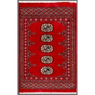 Herat Oriental Pakistani Hand-knotted Bokhara Wool Rug (1'11 x 2'10)