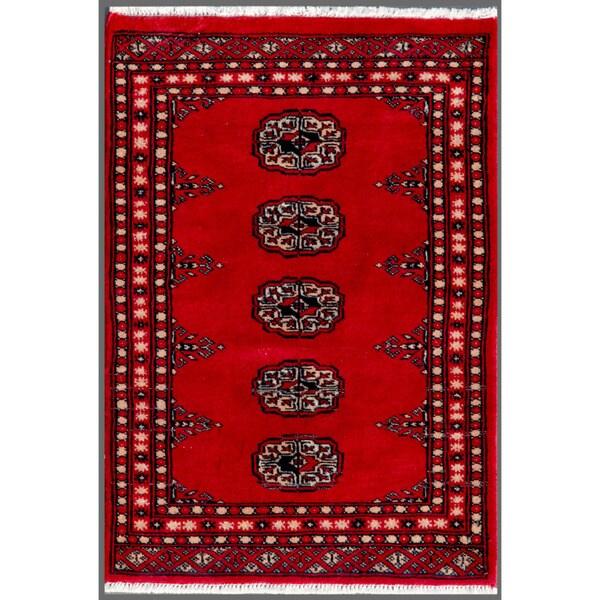 Herat Oriental Pakistani Hand-knotted Bokhara Wool Rug (1'11 x 2'9)