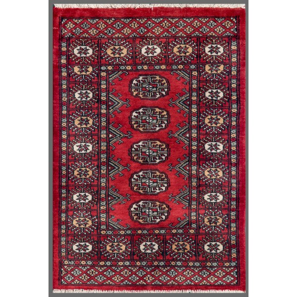 Pakistani Hand-knotted Bokhara Red/ Ivory Wool Rug (2' x 2'10)