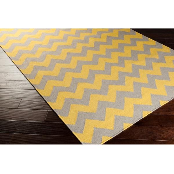 Hand Woven Mustard Chevron Yellow Wool Rug 5 X 8
