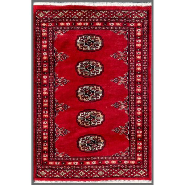 Herat Oriental Pakistani Hand-knotted Bokhara Wool Rug (1'11 x 2'11)