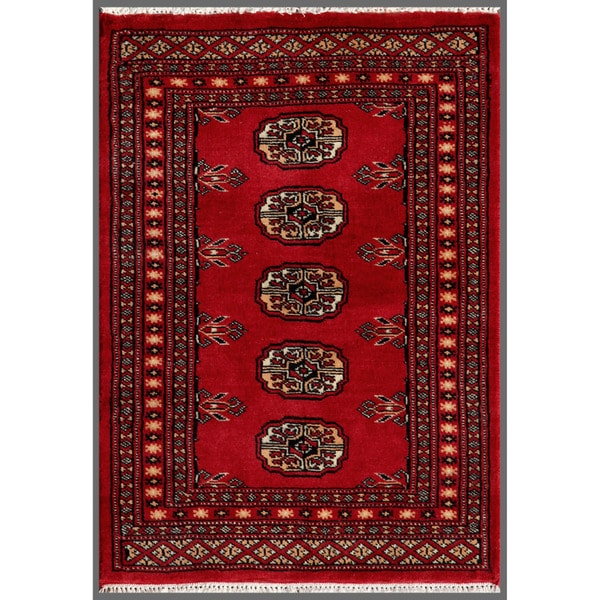 Pakistani Hand-knotted Bokhara Red/ Ivory Wool Rug (2'1 x 2'11)