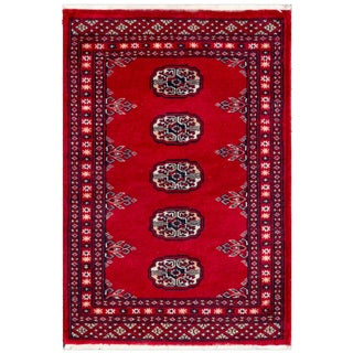 Herat Oriental Pakistani Hand-knotted Bokhara Red/ Ivory Wool Accent Rug (2' x 2'11)