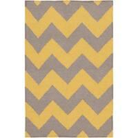 Hand-woven Mustard Chevron Yellow Wool Area Rug (8' x 11')