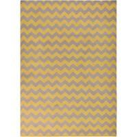 Hand-woven Mustard Chevron Yellow Wool Area Rug - 8' X 11'