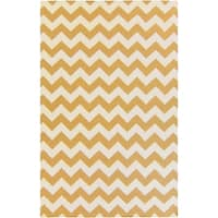 Hand-woven Sandy Chevron Golden Yellow Wool Area Rug - 9' x 13'