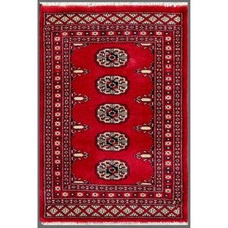 Herat Oriental Pakistani Hand-knotted Bokhara Red/ Ivory Wool Rug (1'11 x 2'9)