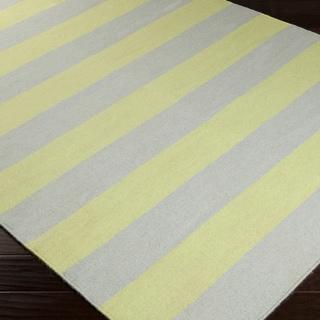 Handwoven Chartruse Stripe Yellowgreen Wool Rug (5' x 8')