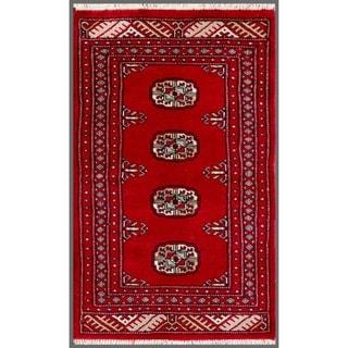 Herat Oriental Pakistani Hand-knotted Bokhara Red/ Ivory Wool Rug (1'11 x 3'2)