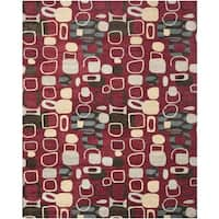 Safavieh Handmade Wyndham Modern Abstract Red Wool Rug - 8' x 10'