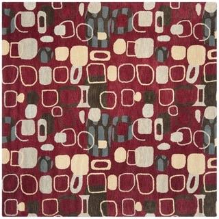 Safavieh Handmade Wyndham Modern Abstract Red Wool Rug (7' x 7' Square)