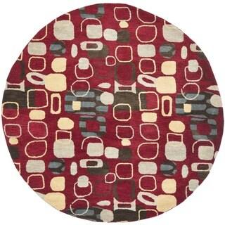 Safavieh Handmade Wyndham Modern Abstract Red Wool Rug (7' x 7' Round)