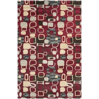 Safavieh Handmade Wyndham Modern Abstract Red Wool Rug (4' x 6')