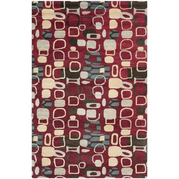 Safavieh Handmade Wyndham Modern Abstract Red Wool Rug (5' x 8')