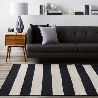 Handwoven Jailhouse Stripe Jet Black Wool Rug (2' x 3')