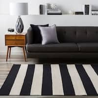 Hand-woven Jailhouse Stripe Jet Black Wool Area Rug - 2' x 3'