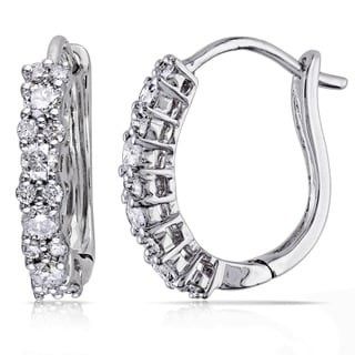 Miadora 14k White Gold 1/2ct TDW Diamond Cuff Earrings