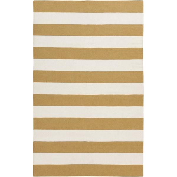 Hand-woven Yellow Stripe Mustard Wool Area Rug - 9' x 13'