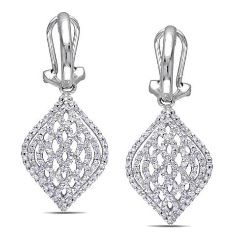 Miadora Signature Collection 14k White Gold 4/5ct TDW Diamond Earrings