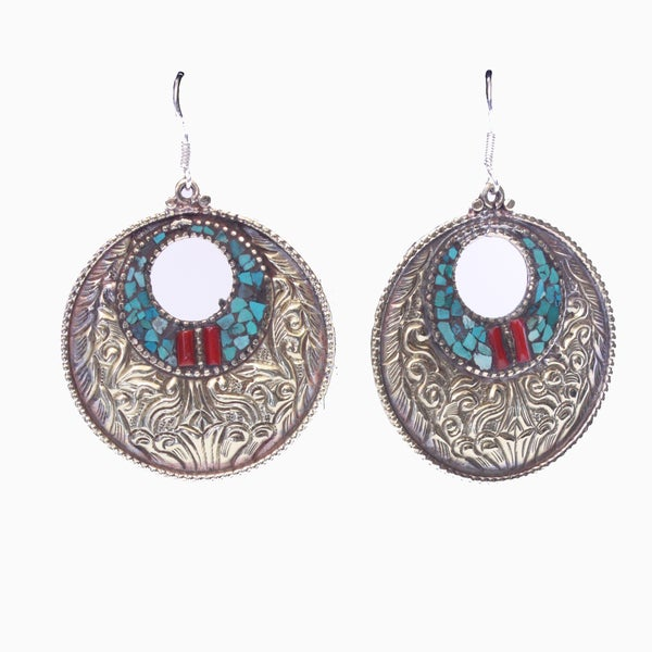 Round Coral and Turquoise Earrings (Nepal)