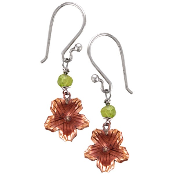 Copper Dream Flower Earrings with Peridot (Nepal)