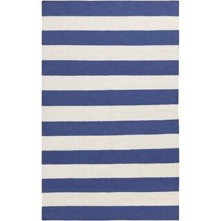 Hand-woven Royal Blue Stripe Wool Rug (3'6 x 5'6)