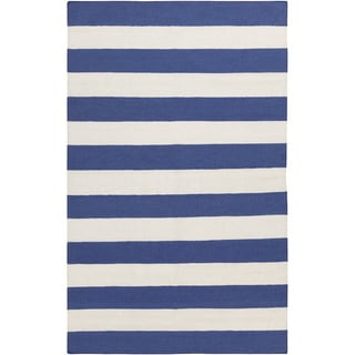 "Hand-woven Royal Blue Stripe Wool Area Rug - 3'6"" x 5'6"""