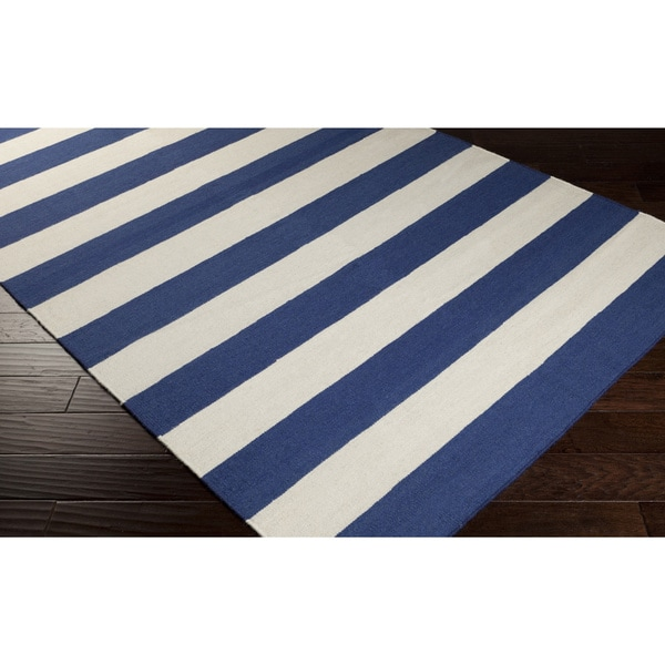 Hand-woven Royal Blue Stripe Wool Area Rug - 8' x 11'