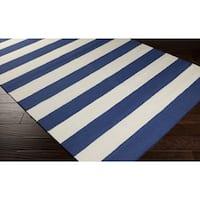 Hand-woven Royal Blue Stripe Wool Area Rug - 8' x 11'