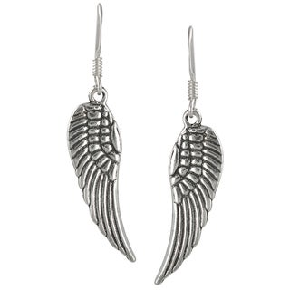 Journee Collection Sterling Silver Angel Wing Dangle Earrings