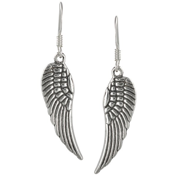 Journee Collection Sterling Silver Angel Wing Dangle Earrings
