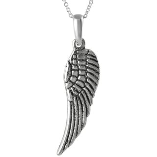 Journee Collection Sterling Silver Small Angel Wing Necklace