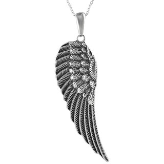 Journee Collection Sterling Silver X-large Angel Wing Necklace