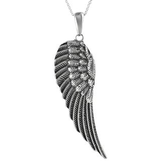 Journee Collection Sterling Silver XL Angel Wing Necklace