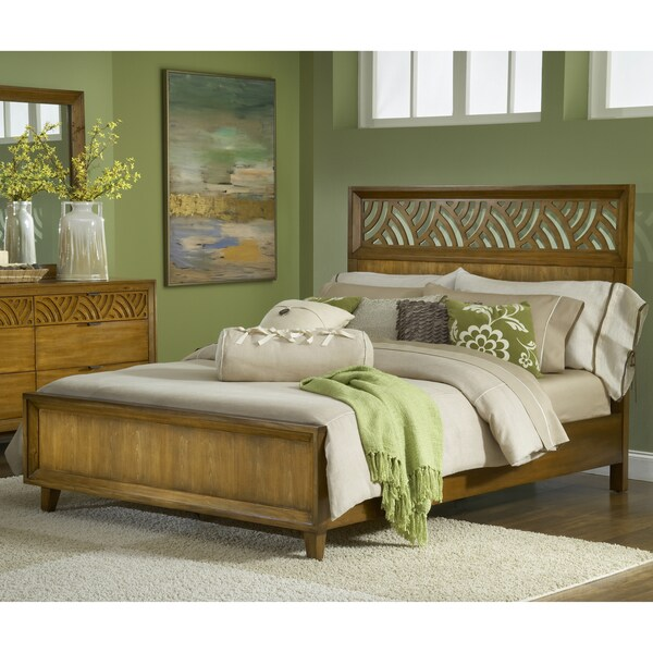 Pecan Latticework Panel Bed