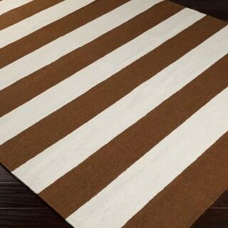 Handwoven Caramel Stripe Wool Rug (5' x 8')
