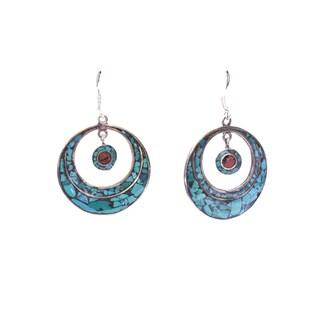 Brass Turquoise Sailor Moon Dangle Earrings (Nepal)