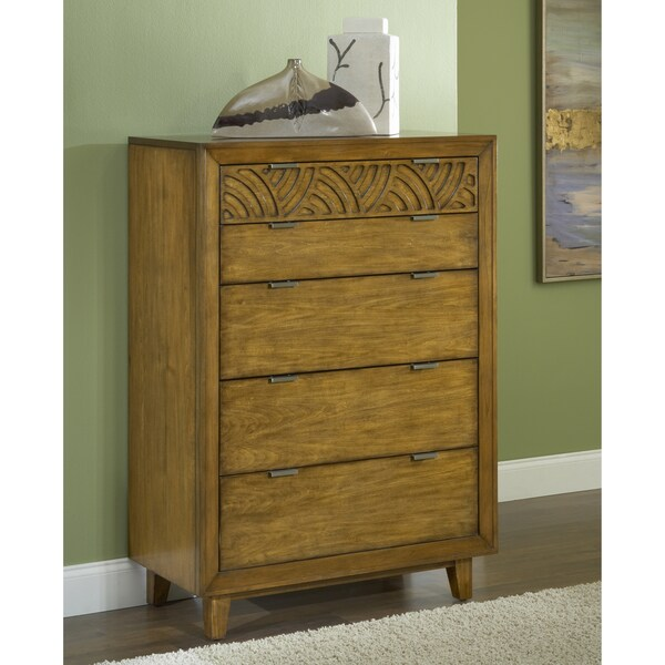 Pecan Latticework 5-drawer Chest