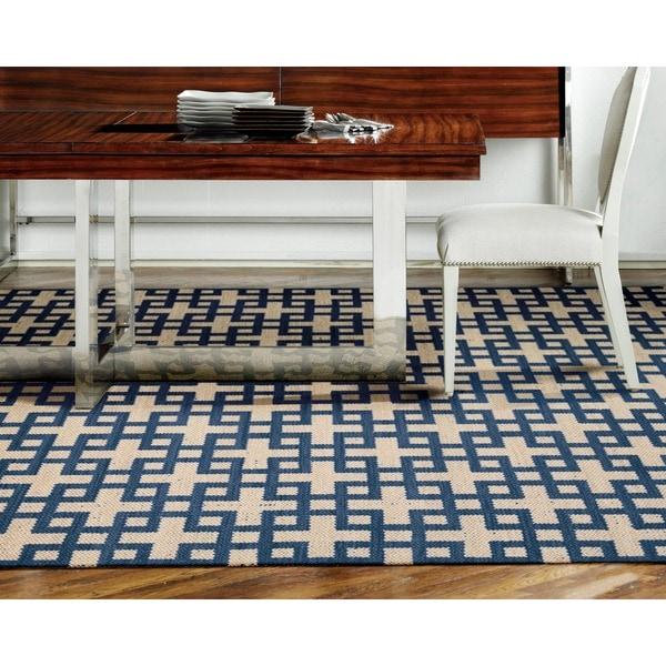 Barclay Butera Maze Indigo Area Rug by Nourison - 7'9 x 10'10