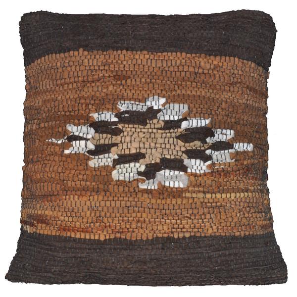 Brown Leather Matador Diamond Design 18x18-inch Pillow