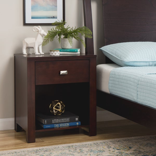 Modern Chocolate Brown One-Drawer Nightstand