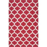 Hand-woven Burnaby Red Wool Area Rug - 9' x 13'