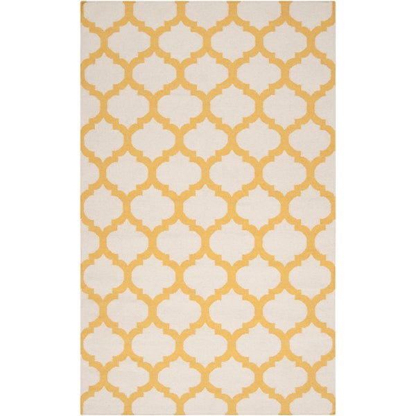 Hand-woven Enderby Yellow Wool Area Rug (2' x 3') - 2' x 3'