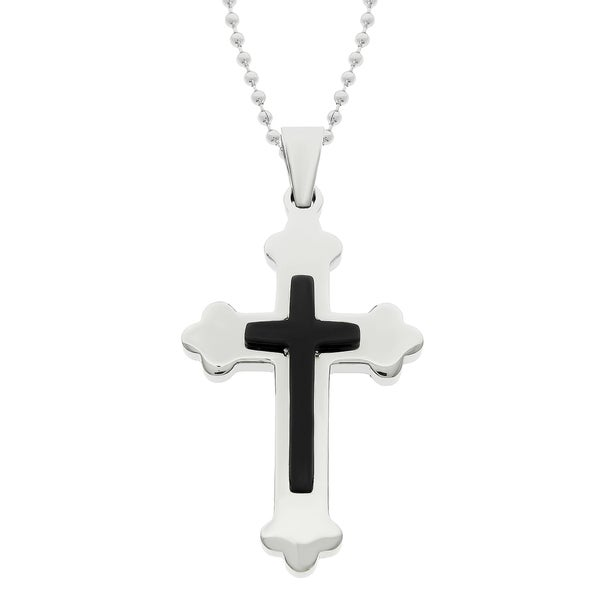 Stainless Steel Men's Black Ion-Plated Layered Cross Necklace