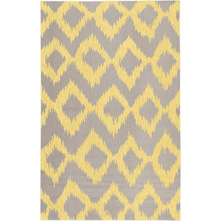 Hand-woven Fame Yellow Wool Rug (2' x 3')