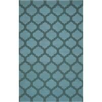 Hand-woven Kelowna Green Wool Area Rug - 9' x 13'