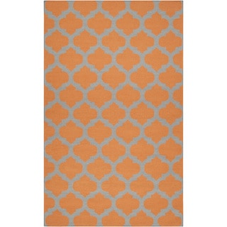 Hand-woven Courtenay Orange Wool Rug (9' x 13')