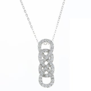 La Preciosa Sterling Silver Cubic Zirconia Double Infinity Necklace